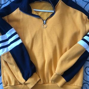 yellow and navy blue half zip